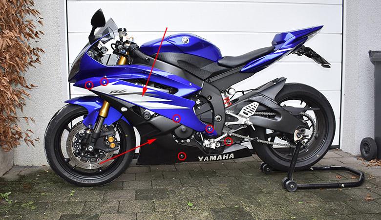 Seitenverkleidung an einer Yamaha R6