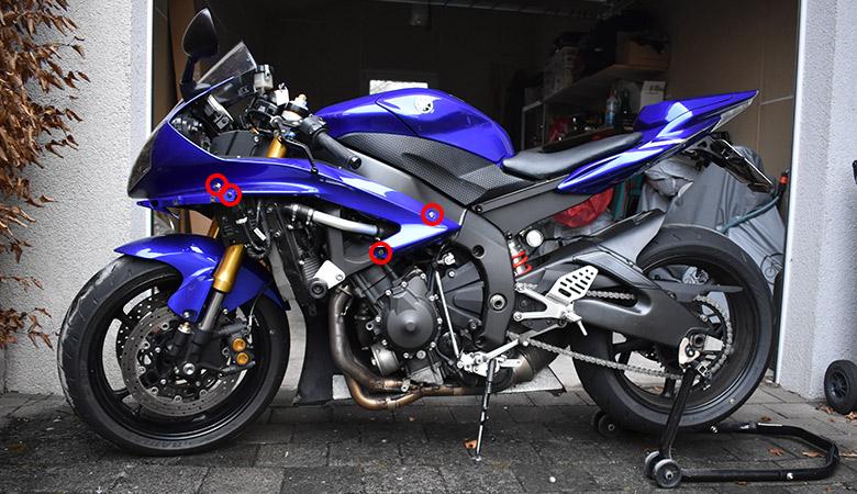 Yamaha R6 RJ11 RJ15 Motorverkleidung demontiert